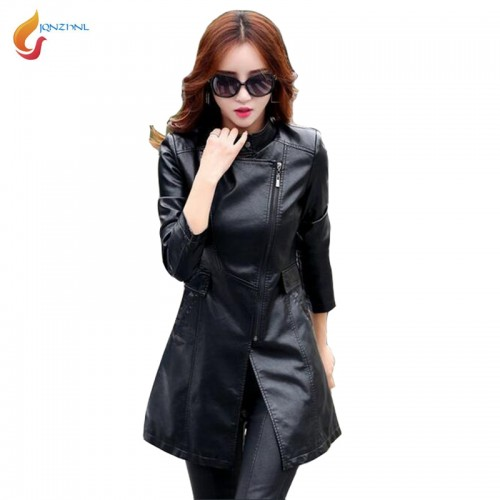 Women Faux Leather Jacket Fashion Long Slim Trench Coats Outerwear