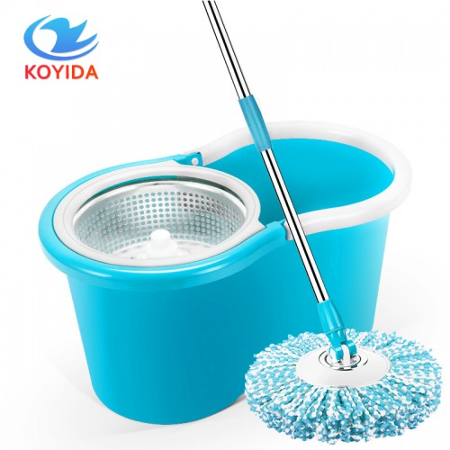 360 Spin Mop Bucket Set Portable Double Drive Stainless Steel Bucket Hand Pressure Rotation
