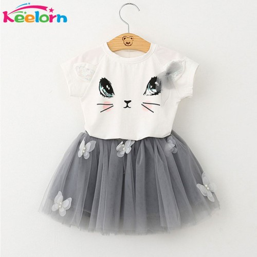 Girls Dress Kids Clothes Cartoon Short Sleeve T-Shirt + Veil Dress 2Pcs baby girl clothes for 2-6 Years