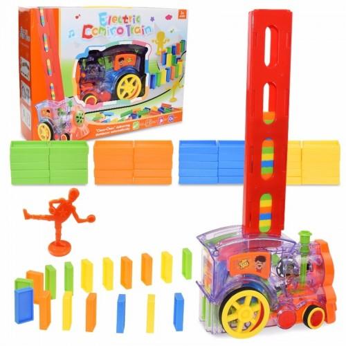 Kids Domino Train Car Set Sound Light Automatic Laying Domino Blocks Game Educational DIY Toy