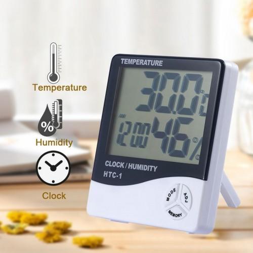 Digital LCD Temperature Humidity Meter With Clock