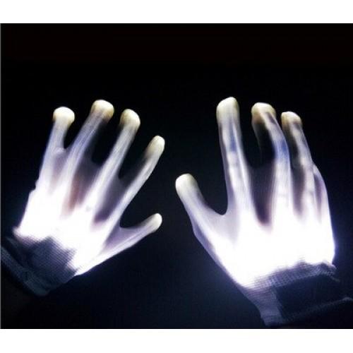 1Pair LED Glowing Fingers Electro Rave Flashing Unisex Skeleton Gloves