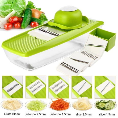 Stainless Steel Vegetable Shredder Slicer Cutter With 5 Interchangeable Blades