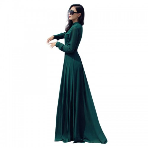 Green Chiffon Cocktail Long Maxi Dress