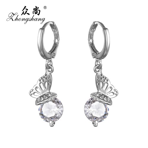 Latest Silver Plated Crystal Long Drop Zircon Earrings For Women  Jewelry Butterfly Princess Pendants