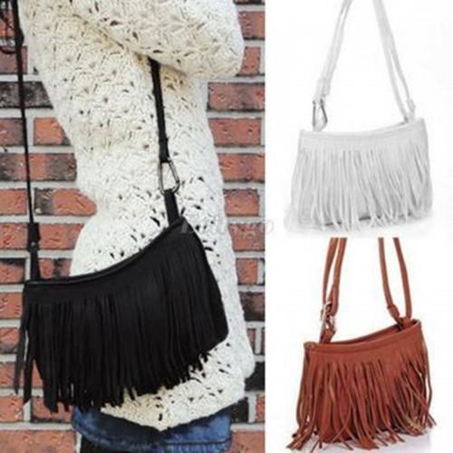 Womens Tassel Fringe Faux Suede Shoulder Messenger Crossbody Bag Handbag Purse