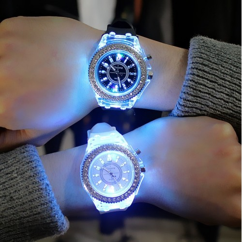 Led Flash Luminous Watches Personality Trends Students Lovers Woman Men Watches Light WristWatch Kids