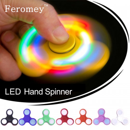 Hand Spinner Plastic Led Fidget Spinner For Autism and ADHD Tri-Spinner Toys