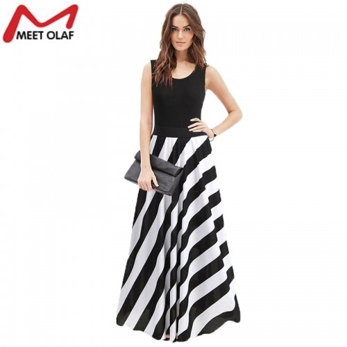 Striped Bohemain Style Long Dress