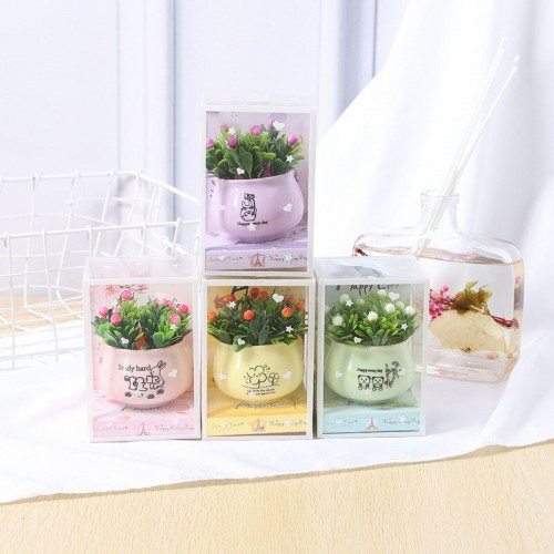 Lovely Simulation Green Rose Bonsai Plant Small Potted Garden Small Ornament Set Room Decoration