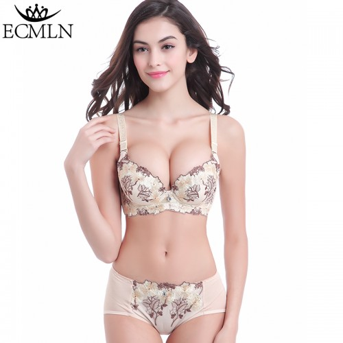 Luxury New Deep V New ECMLN brand Bra Brief Sets French Romantic Intimate Underwear Panty Set