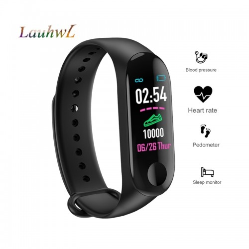 M3 Fitness Bracelet Men Women Smart Band Color Screen IP65 Waterproof Blood Pressure Heart Rate Monitor Sports