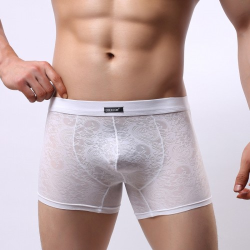 Male slim waist boxer lace fine mens underwear breathable cool and comfortable boxer shorts