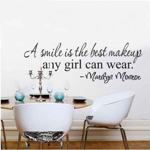 Marilyn Monroe Words A smile Is The Best Makeup Any Girl Can Wear Wall Sticker Home Decoration DIY