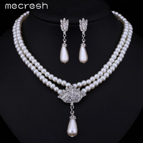 Vintage Simulated Pearl Jewelry Waterdrop Long Earrings Necklace Set