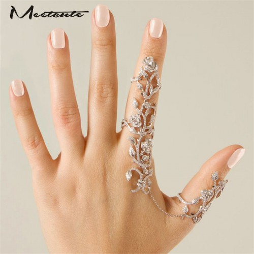 Shiny Crystal Floral Ring Connect Full 2 Finger Rings