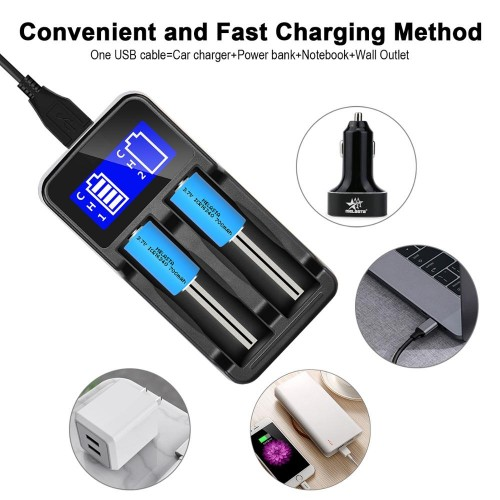 Snado LCD Display Universal Smart Charger for Rechargeable Batteries (2 slots)