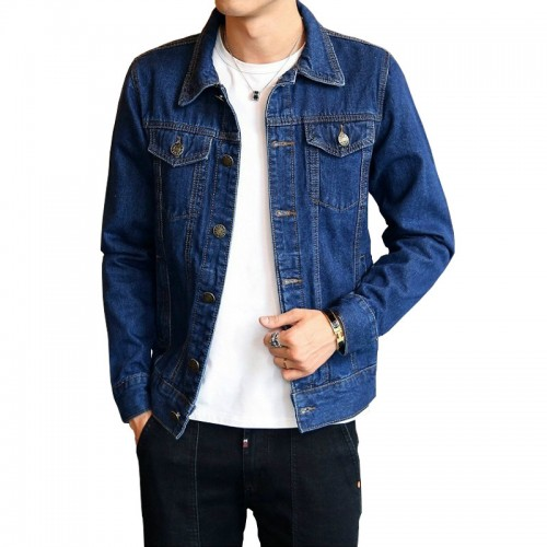 Fashion Mens Jeans Denim Jacket Turn Down Collar Winter Outwear