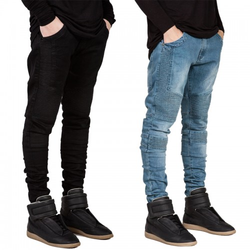 Men's Fashion NEW Wrinkled Jeans Stretch Trousers