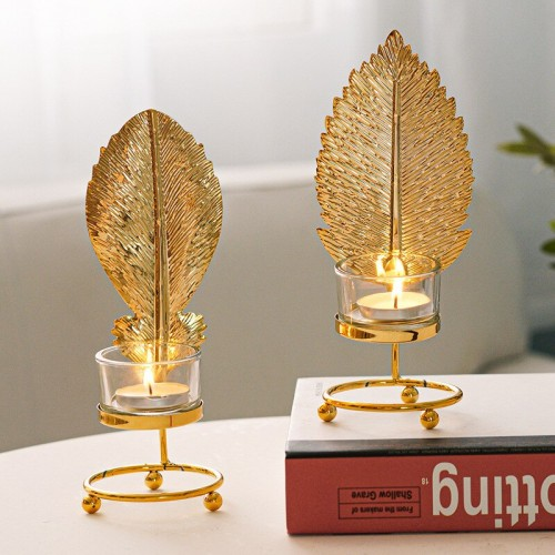 Metal Candlestick Holder Gold Leaves Dining Table Candle Stand Aroma Ornament