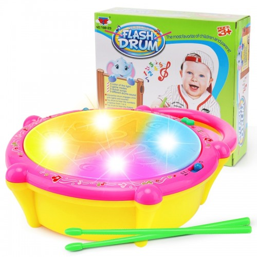 Mini Flash Drum Music Instrument Rattle For Kid Education Toy