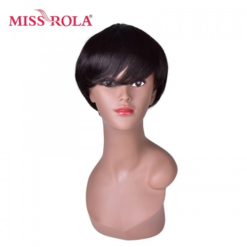 12cm Synthetic Wigs for Men Pure Color 1B Short Straight Wig 100% High Temperature Fiber Wig