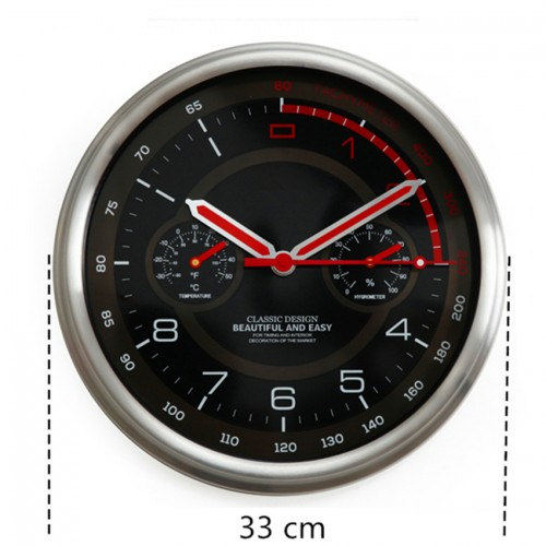 Racing Car Dashboard Clock Large Round Modern Metal Wall Clock With Thermometer Hygrometer