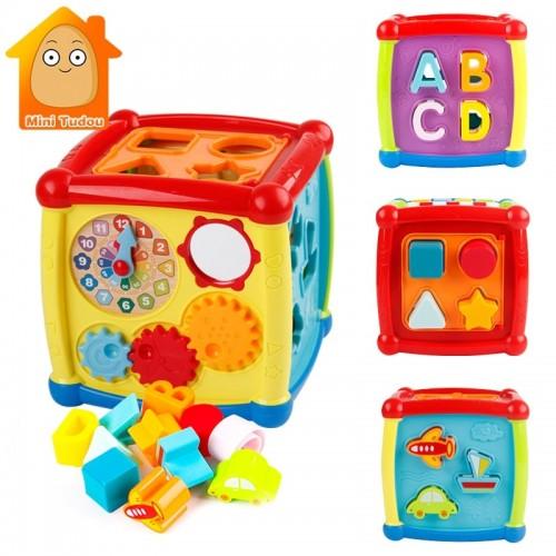 Multifunctional Musical Toys Toddler Baby Box Electronic Gear Clock Geometric Blocks Sorting
