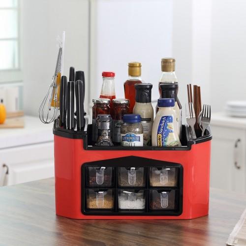 Multifunctional seasoning box Combined kitchen knife rack holder seasoning bottle storage organizer Spice Jar Set Container