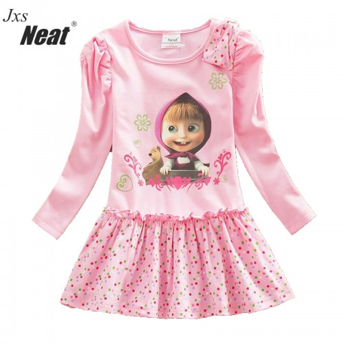 Pink Baby Girl Long Sleeve Dress Fashion Print Pattern Dot Cotton Dress