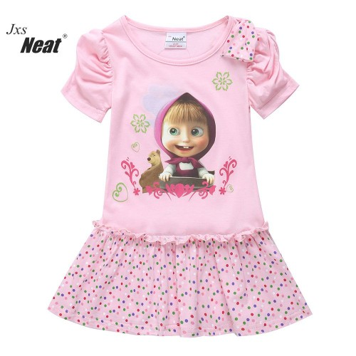 Summer Style Girl Short Sleeved Printed Cartoon 100% Cotton Princess Party Dress For 5 Years