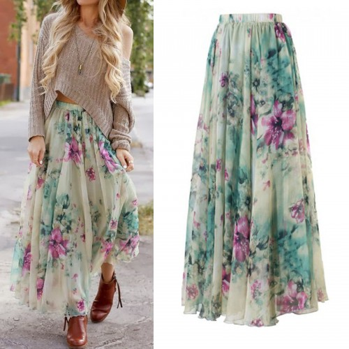 Boho Style Floral Gypsy Loose Skirt