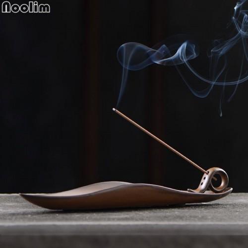 Buddha Stick Incense Holder Vintage Kiln Censer Buddhist Temple Chinese A leaf Boat Incense Burner