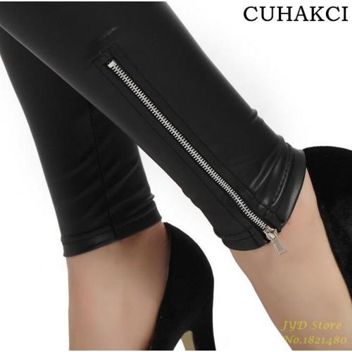 Slim classic fashion for women elastic flat leather Black zipper pants Leggings