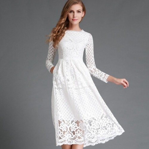 Hollow Out Elegant High Quality Lace Party Dress