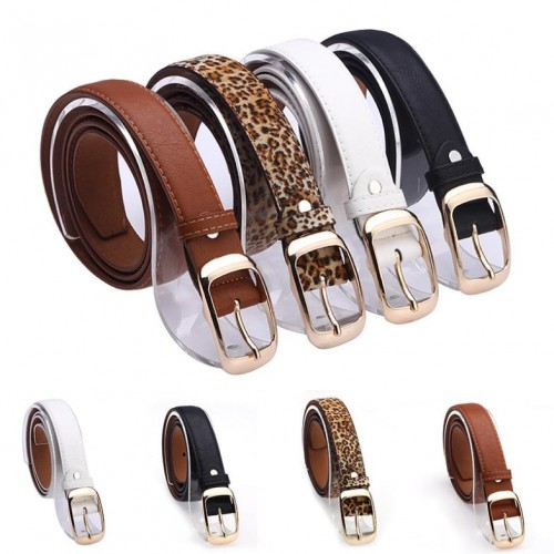 New Fashion Women Belt Brand Designer Hot Ladies Faux Leather Metal Buckle Straps Girls Fashion Accessories