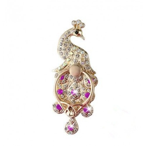 Universal Metal Finger Ring  Phone Holder Stand Rhinestone Peacock Smartphone Support