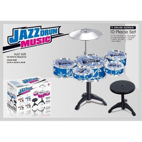 10pieces Jazz Series Drum Set Toys + Chair Drum Kit Musical Instrument For kids