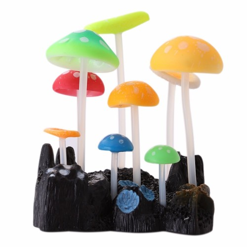 CUTE Glowing Artificial Mushroom Water Plant For Aquarium Fish Tank Ornament Decor