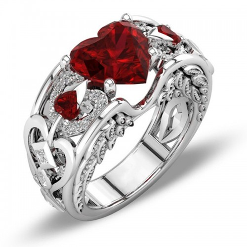 Silver Natural Birthstone Delicate Heart Ring