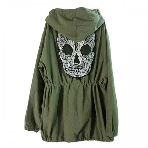 Back Skull Army Green Loose Hoodie