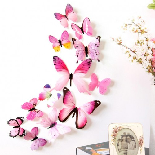 3D Decal 12 pcs Butterfly PVC Wall Stickers for Home
