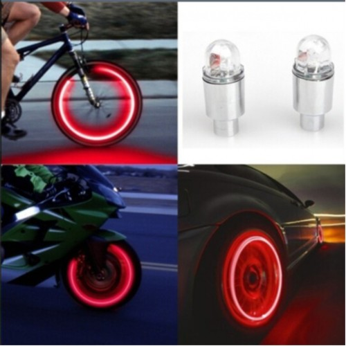 New Arrival Auto Accessories Bike Supplies Neon Blue Strobe LED Tire Valve Caps Lights