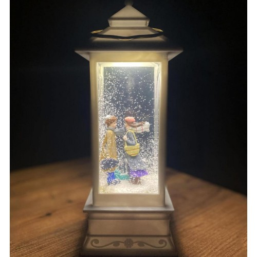 Snow Globe with Lantern Shaped Lights and Music Home Decor