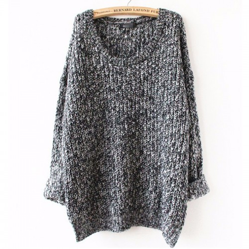 Oversized pull knitwear long sleeve o-neck Sweater