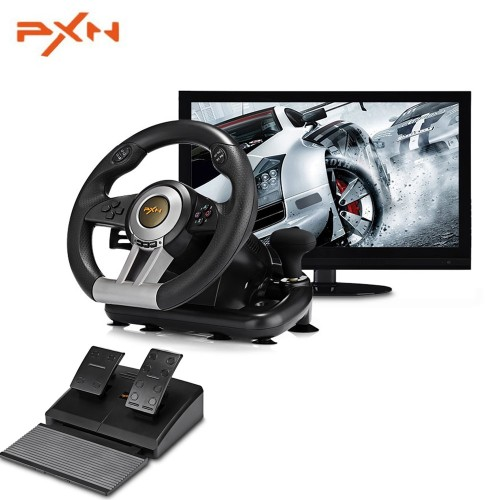 Racing Game Pad 180 Degree Steering Wheel Vibration Joysticks With Foldable Pedal For PC PS3 PS4 Xbox One All-in-one