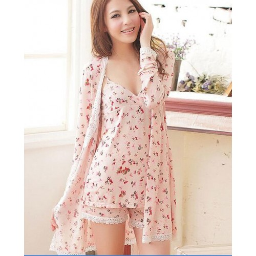 Spaghetti strap robe shorts sleepwear 3 temptation set