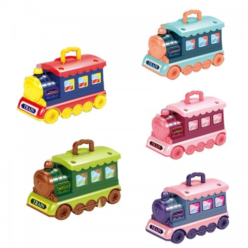 2 in 1 Pretend Play Portable Small Train Kids Play House Multicolor