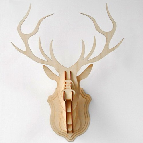 Vintage Embellishment Craft Wooden deer Head