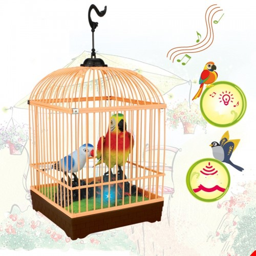Beautiful Birds Induction Electric Chirping Toy Voice Control Parrot Cage Voice Activated